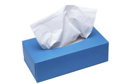Blue Tissue box with a clipping path