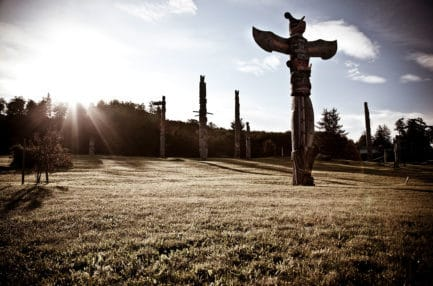 field with totem poles